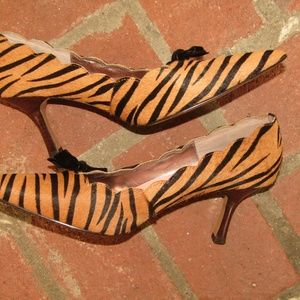 BP pointed heels tiger striped size 8